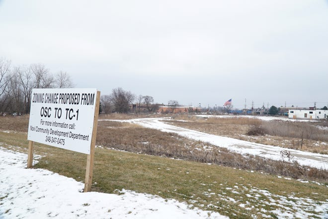 Some of the property that may become Novi's Sakura development as seen from a berm along Eleven Mile just east of Novi Town Center.