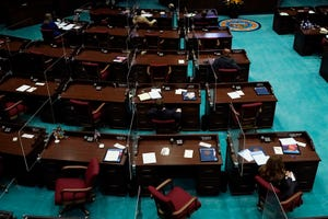 The Arizona House chamber is seen Jan. 11, 2021. With four Republicans voting remotely, Democrats boycott Arizona House budget proceedings, denying the needed quorum on Monday. Work is postponed until Thursday.