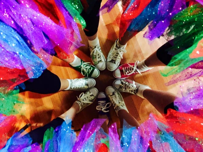 Sparkly dance shoes and tutus for a performance with Friends in Dance on Jan. 10, 2015.