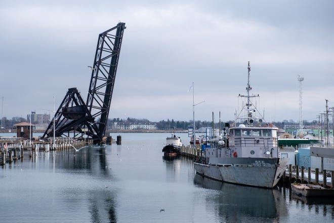The USNSCS Grayfox is seen moored along the Black River Sunday, Jan. 10, 2021, in Port Huron. The Grayfox started looking for a new home after it was asked to leave its mooring at the Blue Water River Walk by the Community Foundation of St. Clair County in September.