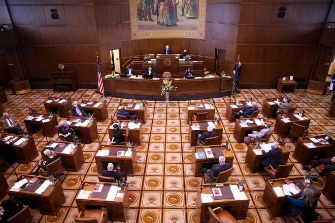 The Senate gathers ahead of the 81st legislative session at the Oregon State Capitol on Jan. 11, 2021.