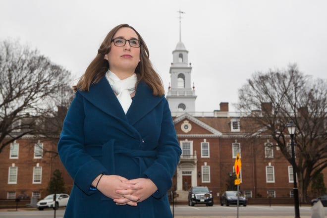 State Senator-Elect Sarah McBride stands for a portrait in front of Legislative Hall in Dover, Del. Monday, Jan, 11, 2021. McBride will be sworn into office Tuesday, Jan. 12.