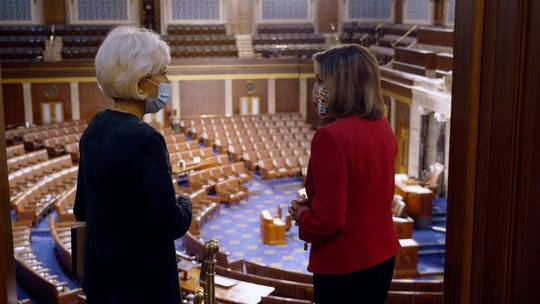 "In an image provided by CBS News and ""60 Minutes,"" House Speaker Nancy Pelosi, D-California, right, is interviewed by correspondent Leslie Stahl on Jan. 8, 2021, at the U.S. Capitol, in Washington."