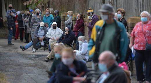 A line of Duval County residents snakes around the campus of the Mandarin Senior Center on Hartley Road on Jan. 11, 2021, as people wait for COVID-19 vaccine injections at one of the two City of Jacksonville vaccine sites which opened Monday.