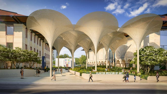 As seen in this rendering, the new Moody Patio at the Blanton Museum of Art will be dominated by what look like 15 gigantic, perforated flowers. The additions will fundamentally change the hitherto ill-defined vergesof the University of Texas campus.