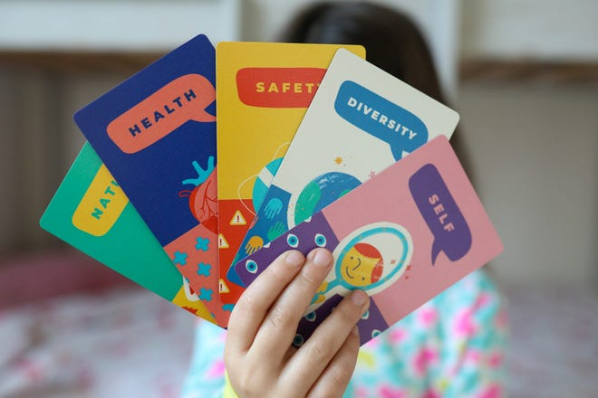 Bright Littles Convo Cards come with 100 questions in five different topics.
