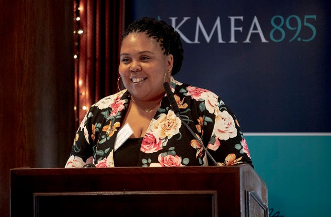 Shamika Wilson, the mother of Draylen Mason, speaks about her son during a KMFA 89.5 event in 2019. The classical music station's new studio is named after Mason, and they're holding a virtual opening celebration.