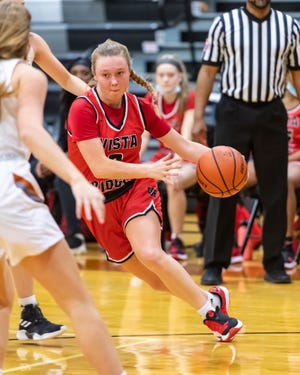 Riley Leedholm drives for Vista Ridge against Westwood Friday at Westwood High School. Vista Ridge won a district girls basketball game 53-45 to remain unbeaten in District 25-6A.