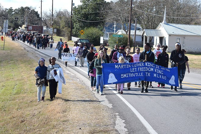 The MLK walk route in Smithville in 2018 took the 300 participants down MLK and along Texas 95 before crossing the railroad tracks, the historical delineation between white and minority residents.