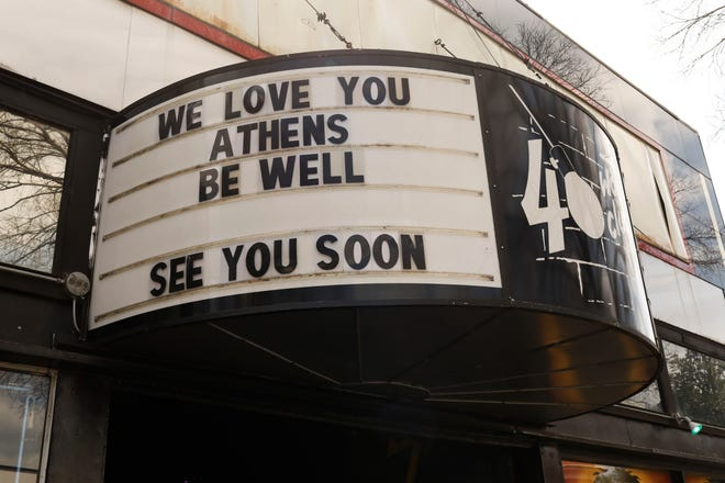 The closed 40 Watt Club in downtown Athens, Ga., on Thursday, March 19, 2020. The has been closed since March 13 because of the pandemic. [Photo/Joshua L. Jones, Athens Banner-Herald]