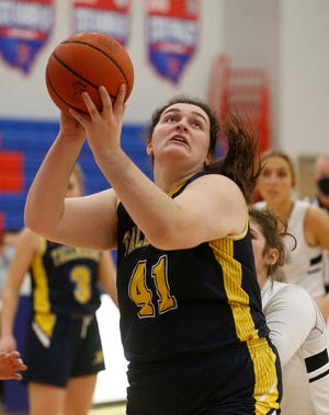 Addie Bowman of Tallmadge goes up for two points during the first half of their game Monday, Jan. 11, 2021 in Richfield, Ohio.