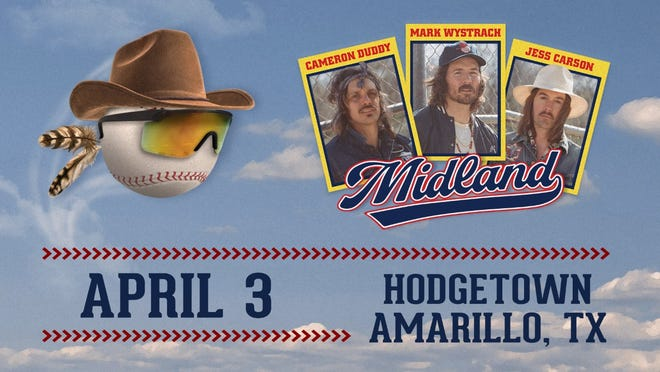 Country music act Midland will stop at Hodgetown April 3 during the band's Texas tour. Tickets will go on sale Thursday.