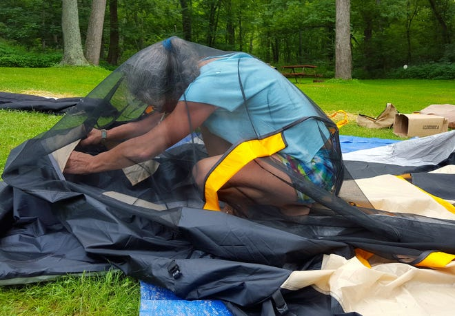 When putting your tent away for the winter, it's important to turn it inside out and shake it to get rid of anything (or anyone) you might have left in it after your last camping trip.
