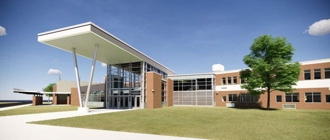 This architectural rendition of the new design for the Benjamin Franklin Middle School in Bristol Township shows the new entrance planned for the school on Mill Creek Road.