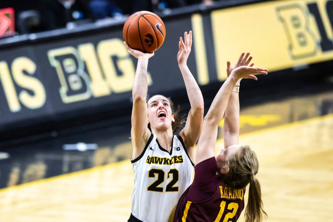 Iowa is led by freshman guard Caitlin Clark (22), who is second in the Big Ten in scoring at 25.6 points per game.