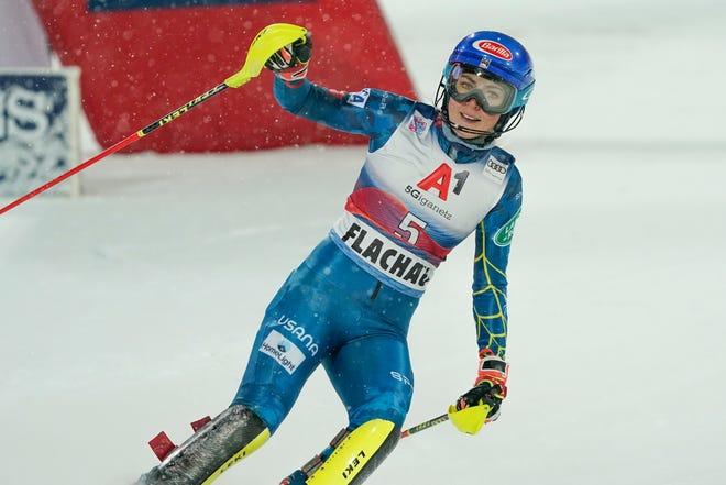Mikaela Shiffrin celebrates after winning on Tuesday.