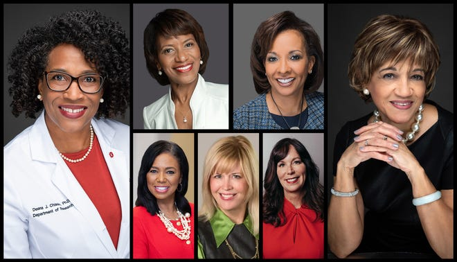 The 2021 YWCA Women of Achievement honorees are, clockwise from left, Dr. Deena Chisolm, Mary Howard, Carla Williams-Scott, Linda Kanney, Michelle Heritage, Jen Peterson and Gayle Saunders.