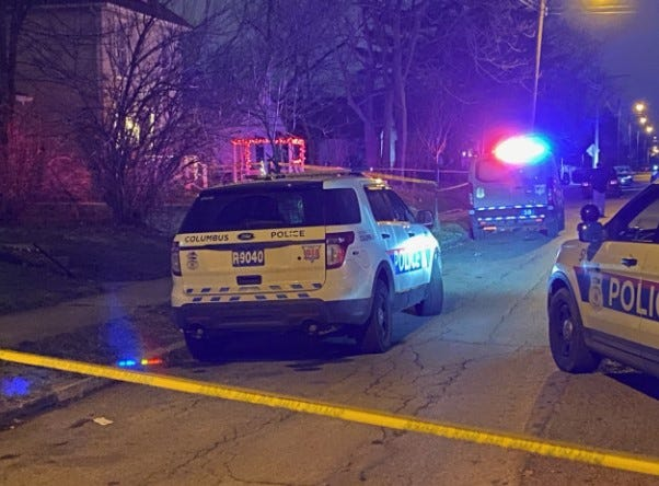 Columbus police on the scene where a woman was fatally shot Jan. 11, 2020 on Leona Avenue in the Milo-Grogan neighborhood on the Near East Side.  The surge in gun violence  and homicides in Columbus last year and so far this year wears on the mental health of city police and firefighter-medics who have to deal with the scenes.