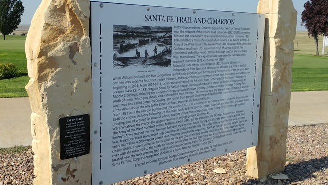Commemoration of the 200th anniversary of the Santa Fe Trail highlights the storyboard about the Santa Fe Trail and Cimarron located at the Cimarron Golf Club course.