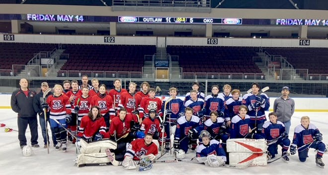 The Western Kansas Outlaws youth hockey team swept the Oklahoma Oilers at home ice at United Wireless Arena in Dodge City on Jan. 9. The Outlaws won game one 8-2 and game two 10-5.