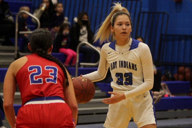 Junior Mahpiya Jackson looks for an open player in a game against Dunseith on Jan. 11 at Four Winds High School.