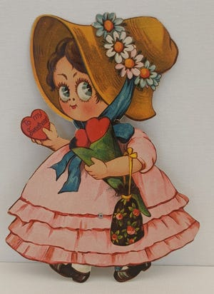 The Hoyt's vintage Valentines are on display at The Confluence in downtown New Castle.