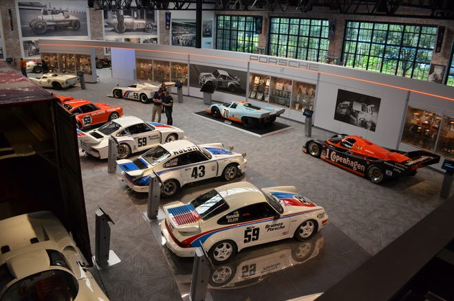 Race cars driven by Hurley Haywood on display at The Brumos Collection include endurance racers and many of the Porsche 911 variants (left) he and the team competed in over the decades.