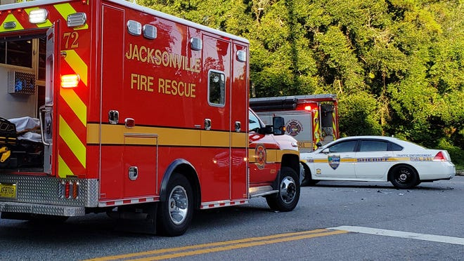 A recent Jacksonville crash scene with fire and police response.