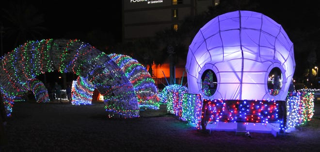 The Beaches Go Green Octopus Garden was voted third place winner in the annual Deck The Chairs holliday light event in Jacksonville Beach.