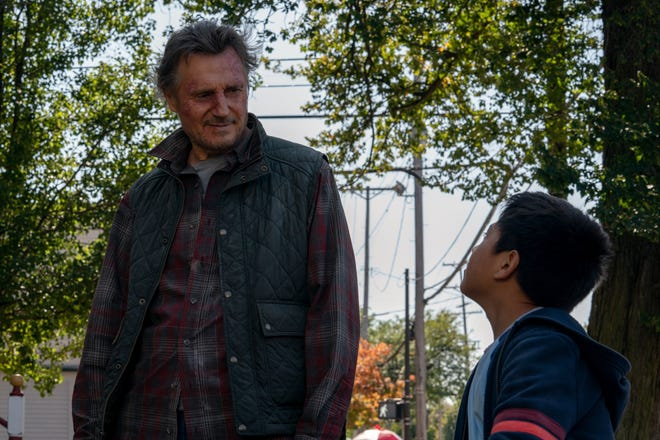 "Liam Neeson (left) and Jacob Perez star in the action-adventure film ""The Marksman."""