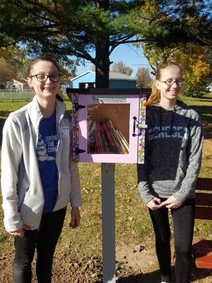 Earlier this year Samantha Gerstel, left, and Jenna Freadhoff installed a Little Free Library at Sullivan Park in the Level Acres neighborhood in Colona.
