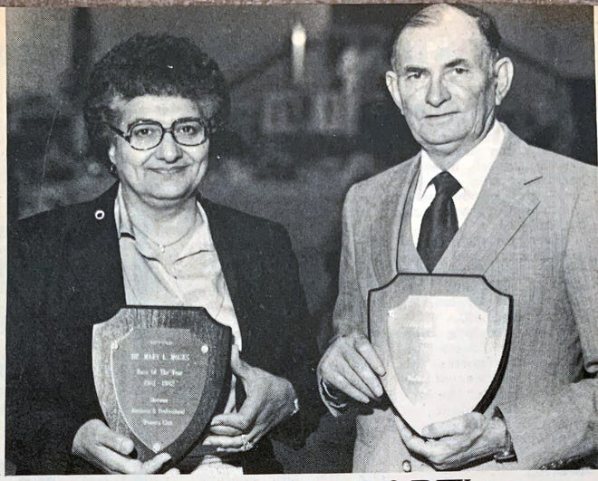A Sherman Democrat clipping shows Mary Moses receiving the Boss of the Year award from Business and Professional Women's Club alongside Lee Alexander of Goodwill who received Torch Award for helping women advance in business.