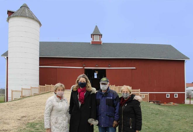 Pictured from left are Leah Roth, Case Barlow Farm board; Sen. Kristina Reogner ;  Jack Belby, CBF board; and Linda Matty, CBF board.