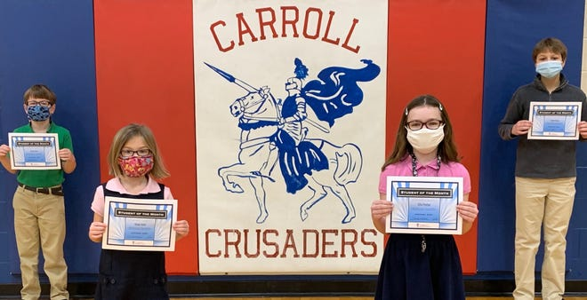 Carroll Catholic School Dec/Jan Students of the Month(s): Gavin Vaini (3rd Grade), Giada Vaini (1st), Ellia Prather (6th), and Parker Graue (8th). These students were chosen by their teachers for doing exceptional work during the past two months of remote learning. Keep up the great work.