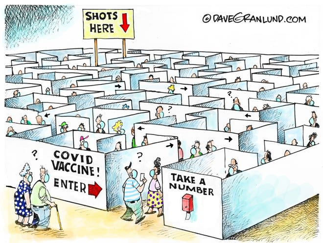 Dave Granlund cartoon on access to COVID vaccine