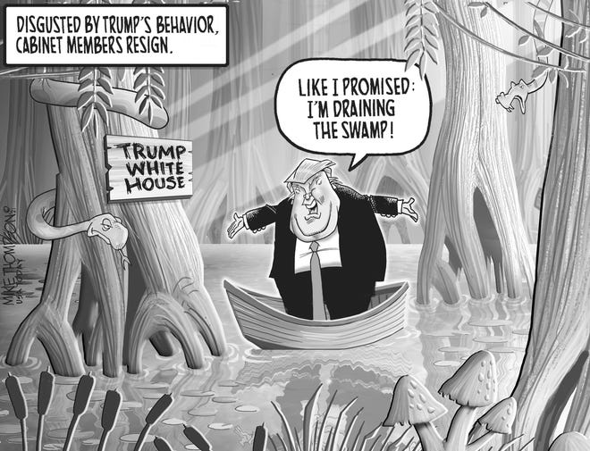 A Mike Thompson cartoon about the exodus in the Trump cabinet