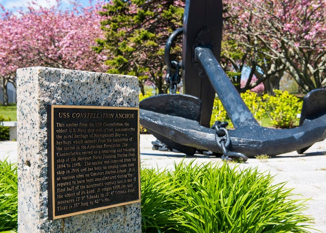 The anchor from the U.S.S. Constellation is displayed near the Naval War College.