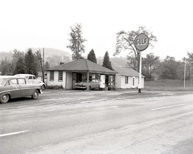 The 1958 murder of a gas station attendant at this Gulf Service station on Route 20 in the Town of Eaton remains unsolved.