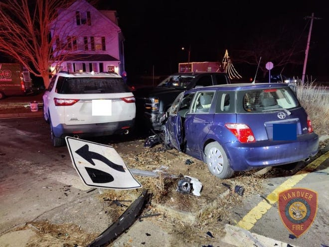 Three people were transported to the hospital following a three-car crash in Hanover on Jan. 11, 2021.