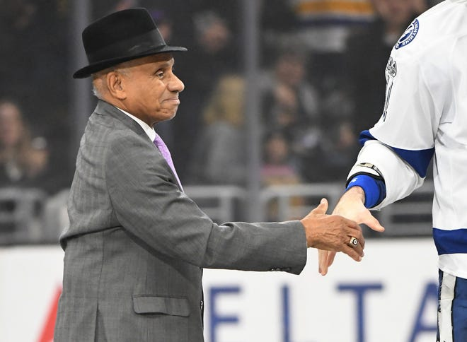 Willie O'Ree, the NHL's first Black player, dropped the puck before the game between the Los Angeles Kings and the Tampa Bay Lightning at Staples Center in Jan. 16, 2017.