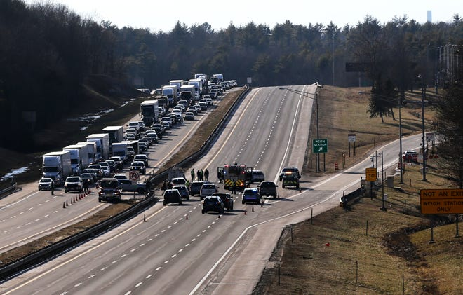 Traffic in the north and southbound lanes on the Maine Turnpike between Kittery and York came to a halt following multiple crashes Tuesday, Jan. 12, 2021.
