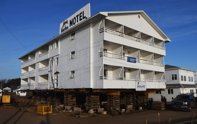 The York Harbor Motel and Cottages is undergoing a major renovation. The main hotel building was lifted nearly 9 feet in the air this week while its foundation is completely rebuilt as it overlooks the Atlantic Ocean.
