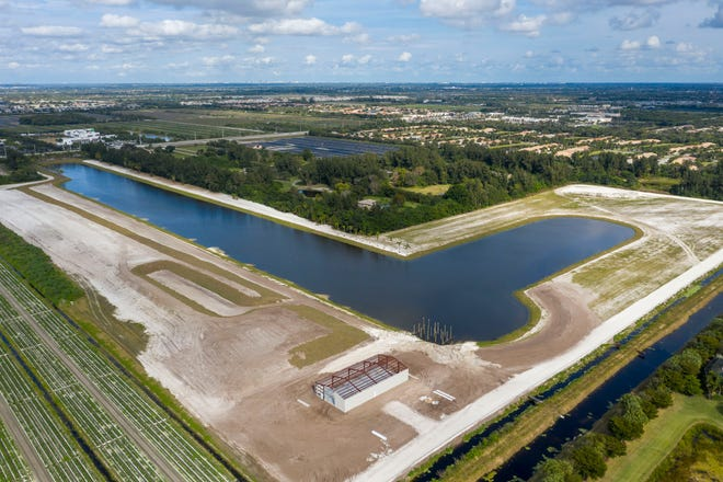 A large lake that has been built without permits south of Boynton Beach Boulevard and west of Lyons Road on January 11, 2021.