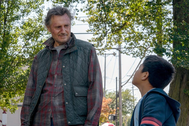 """Liam Neeson stars as Jim and Jacob Perez as Miguel, in director Robert Lorenz's """"The Marksman."""""""