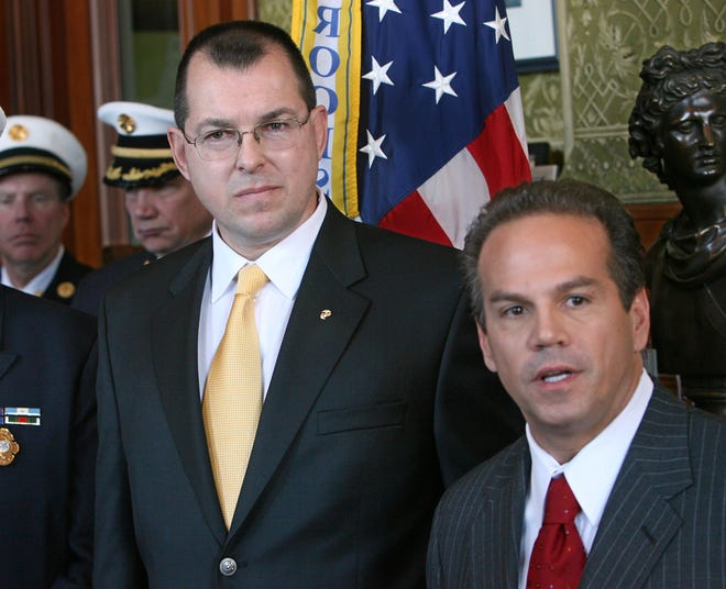 Then-Mayor David Cicilline, right, appoints retired Marine Lt. Col. Peter T. Gaynor Providence's Emergency Management Director in February 2008.