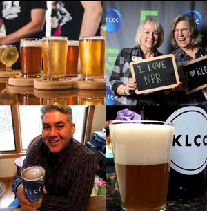 A mosaic of images from KLCC's 2020 Brewfest, including, in the top right image, KLCC's Kris Fox (left) and former Brewfest co-coordinator Gayle Chisholm (right).