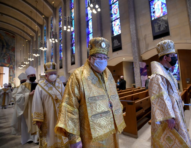 Bishop John Michael Botean with Romanian Catholic Church in Canton participates in Tuesday ordination Mass of the Rev. David J. Bonnar as the sixth bishop of Youngstown at The Cathedral of St. Columba in Youngstown.