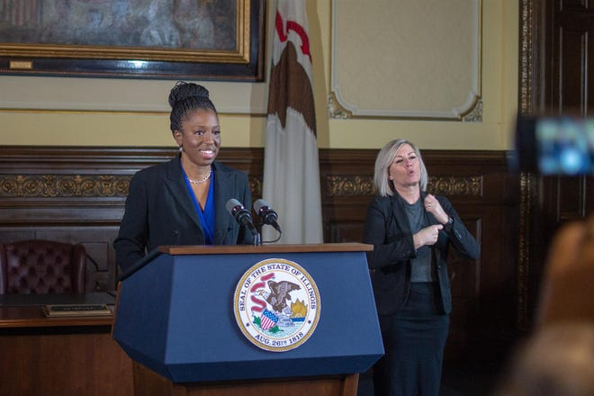 Illinois Department of Public Health Director Dr. Ngozi Ezike takes questions during a COVID-19 news briefing Monday, Jan. 11, 2021, at the Illinois State Capitol in Springfield. She gave an update on the state's vaccination plan.