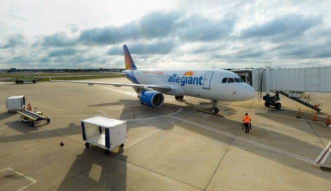 An Allegiant Air jet arrives at the Sarasota-Bradenton International Airport in 2018.