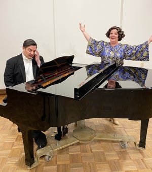 "Cory Woomert, left, portrays the put-upon accompanist to would-be concert singer Florence Foster Jenkins, played by Ellie Pattison in a production of Stephen Temperley's ""Souvenir"" by the Players Centre for Performing Arts."